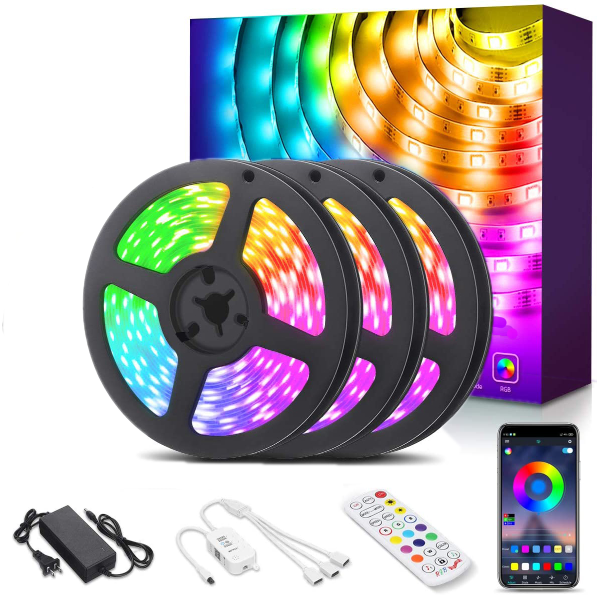 LED Strip Lights 39.4ft 5050 LED RGB Light Strips App IR Remote Controller Color Changing Wireless Music Sync Neon Flexible Tape Waterproof Rope Lights for Bedroom Room Home Kitchen