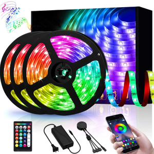 49.2ft LED Strip Lights, Ledodm Lighting Music Sync RGB Strip Lights 5050 Color Changing Flexible Strips Lights APP Control Rope Light Kit with 44 Keys Remote for Home Kitchen Indoor Decoration