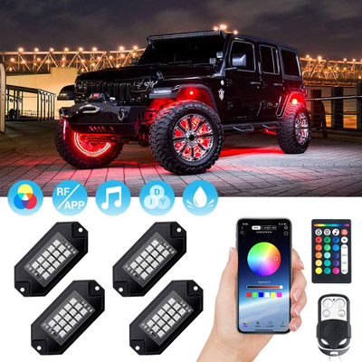 RGB LED Rock Lights 60 LEDs Multicolor Underglow Neon Lights Waterproof Aluminum Light Kit with RF/APP Control Music Mode Timing Function for Truck Jeep Off Road Car UTV ATV SUV 4 Packs