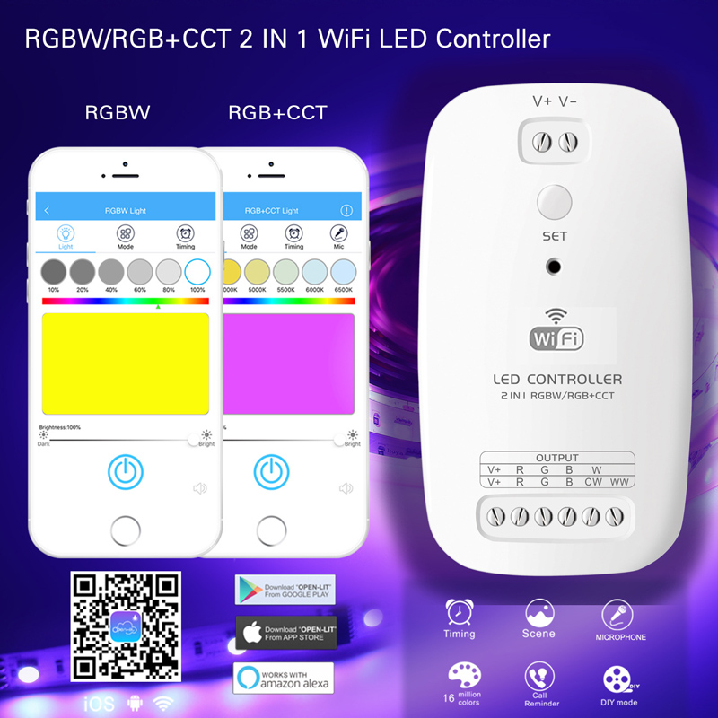 2 in 1 RGBW RGB+CCT WiFi Controller Works with Alexa for Flexible LED Strip Lights